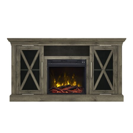 """Society Hill Spanish Gray TV Stand for TVs up to 60"""" with Electric Fireplace"""