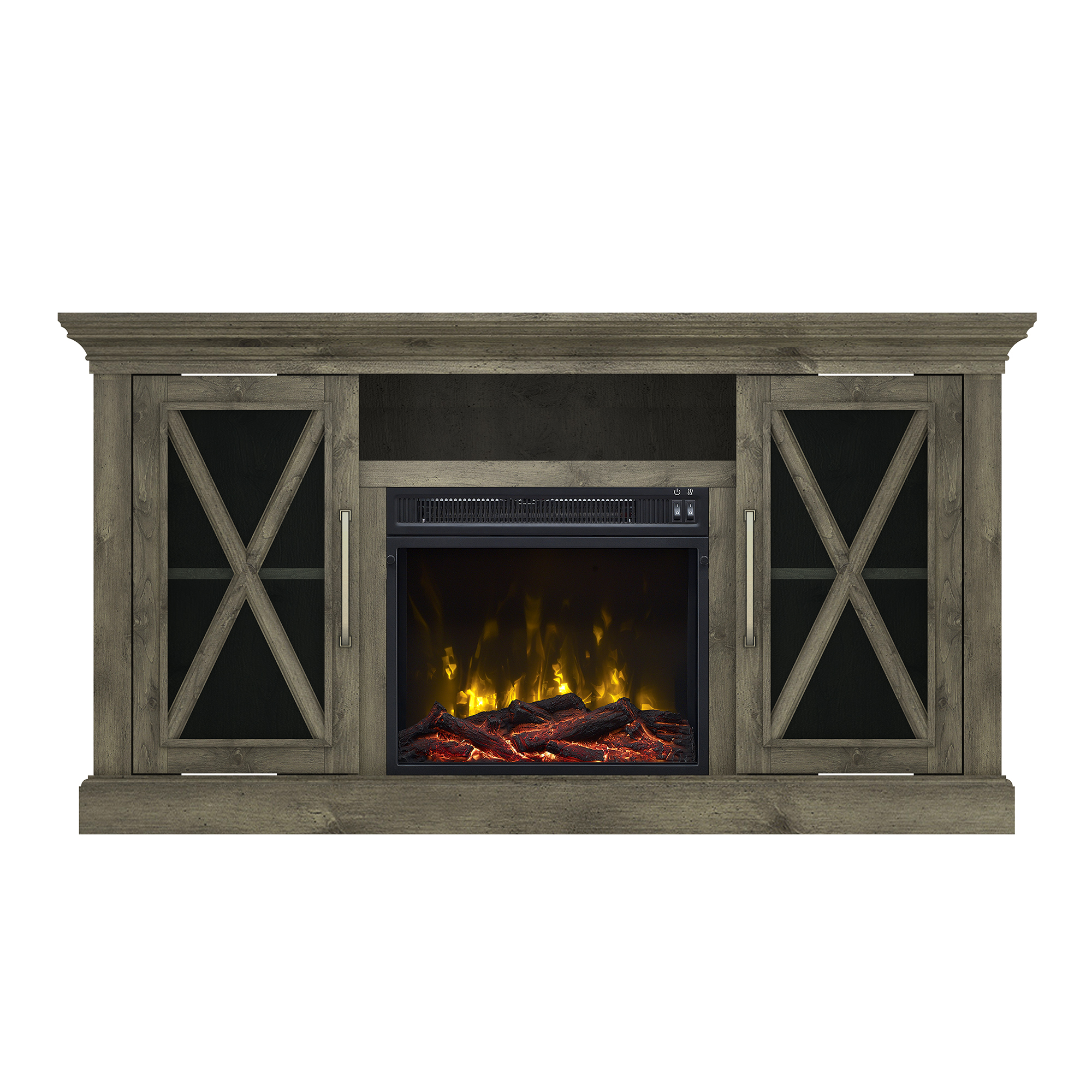 "Society Hill Spanish Gray TV Stand for TVs up to 60"" with Electric Fireplace"