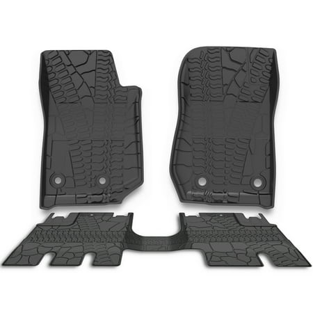 For 2014-2019 Jeep Wrangler JK 4 Door Unlimited Slush Floor Mats All Weather,Includes 1st & 2nd Front Row and Rear Floor Liner Set (Jeep Map Sensor)