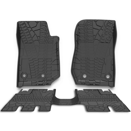 For 2014-2019 Jeep Wrangler JK 4 Door Unlimited Slush Floor Mats All Weather,Includes 1st & 2nd Front Row and Rear Floor Liner (Mopar Slush Mats Jeep Wrangler 2 Door)