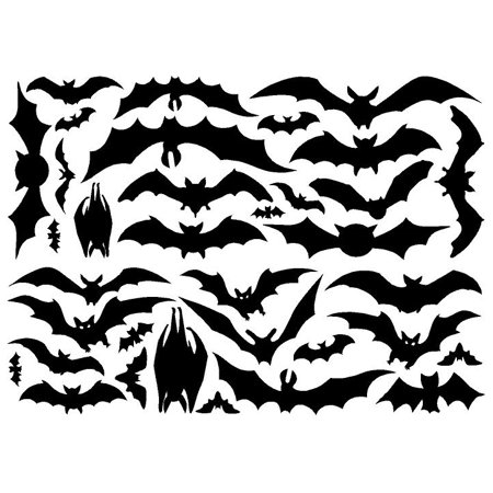 (Halloween Bats set of 28 vinyl lettering decal home decor wall art sticker)
