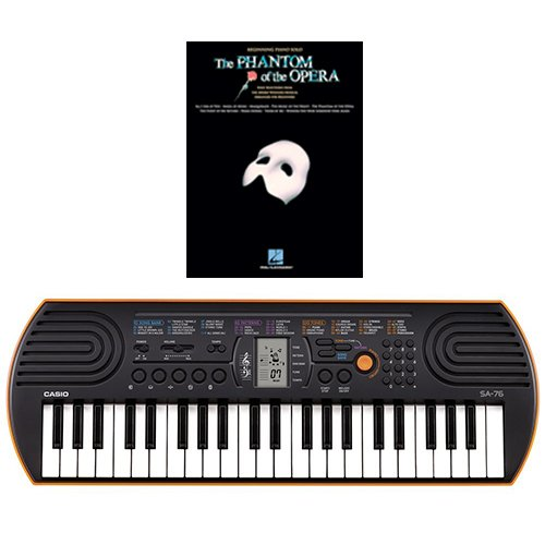 Casio SA-76 44 Key Mini Keyboard Bundle Includes Bonus The Phantom of The Opera Beginning Piano Solo Songbook