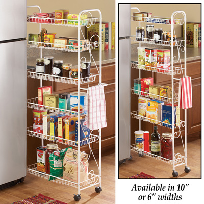 Slim Rolling Pantry 6 Tier Shelf, 10""