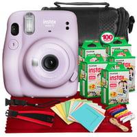 FUJIFILM INSTAX Mini 11 Instant Film Camera (Lilac Purple) + ACCESSORY BUNDLE THAT INCLUDES 5X Fujifilm Instax Mini Twin Film (100 Exposures), Camera Carrying Case, Camera Strap & Funky Film Frames