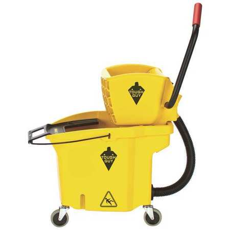 "TOUGH GUY Mop Bucket w/Side Pressure Wringer,8-3/4 gal,Yellow,3"" Cstrs 5KDE7"