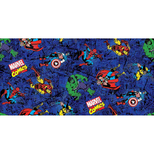 "Marvel Comics Comic Fury Distressed Toss, Blue, 43/44"" Wide, Fabric by the Yard"