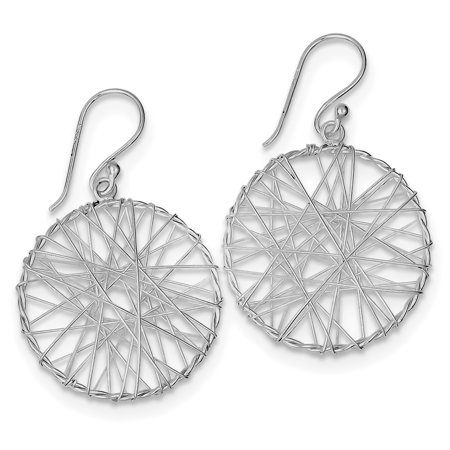 Sterling Silver Rhodium Plated Open Circle Wrapped Wire Earrings QE8923