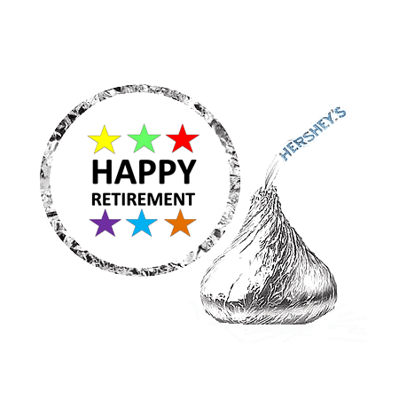 216 Happy Retirement Party Favor Hershey's Kisses Stickers / Labels