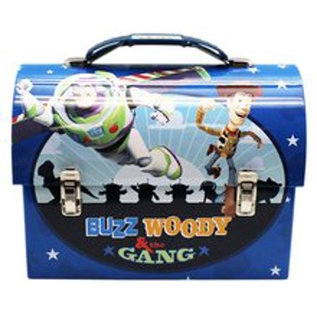 Toy Story Woody Buzz Jessie Dome Carry All Workman\'s Tin Box - Blue - Woody And Buzz And Jessie