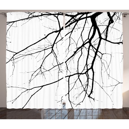 House Decor Curtains 2 Panels Set, Close Up Shot of Leafless Winter Tree Branches Twigs of Oak Nature Print, Window Drapes for Living Room Bedroom, 108W X 84L Inches, Black and White, by