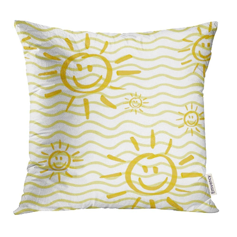 CMFUN Drawn with Smiling Sun by Marker Sunshine in Yellow Colors Child Cartoon and Hand Pillow Case Pillow Cover 20x20 inch Throw Pillow Covers