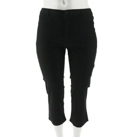 Denim & Co Stretch Twill Crop Pant Cargo Pocket A291664