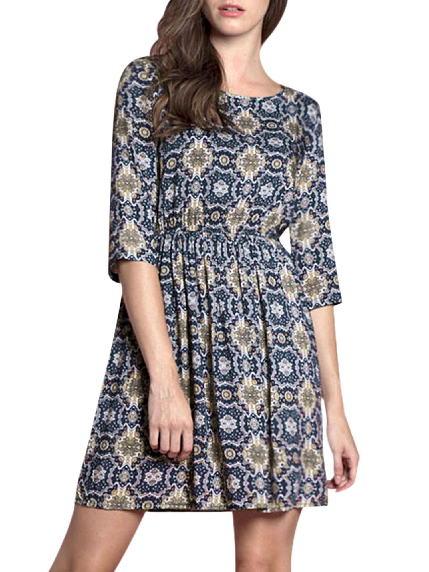 Women's Floral Prints 3/4 Sleeves Elastic Waist A Line Dress Blue (Size L / 12)