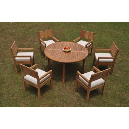 Grade-A Teak Dining Set: 6 Seater 7 Pc: 52