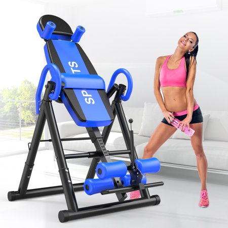 Premium Gravity Inversion Table Back Therapy Fitness Back Pain Relief, Adjustable Folding Therapy Back Inversion Table for Home