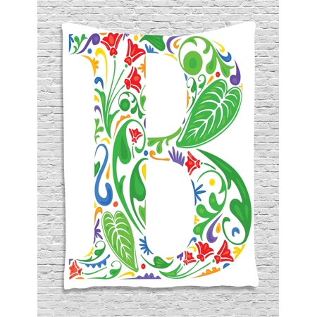 Letter B Tapestry  Capital With Spring Herbs Flowers Petals Leaves Nature Harvest Swirls Vivid Image  Wall Hanging For Bedroom Living Room Dorm Decor  40W X 60L Inches  Multicolor  By Ambesonne