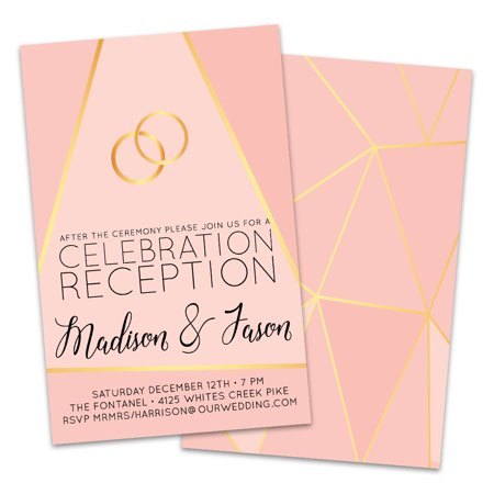 Graphic Rings Personalized Wedding Reception - Gold Wedding Invitations