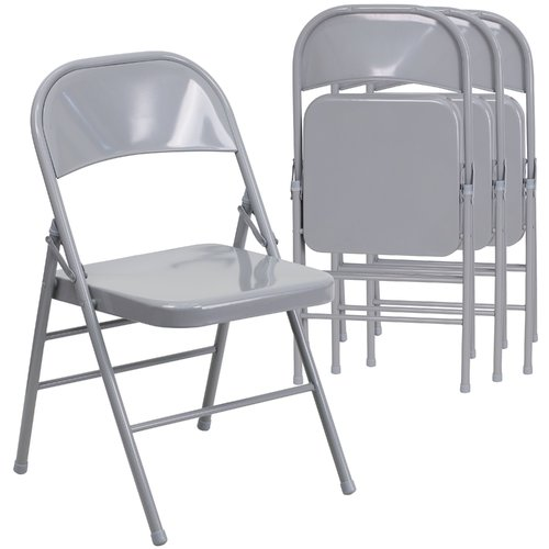 Hercules Hinged Metal Folding Chair - 4-Pack, Gray