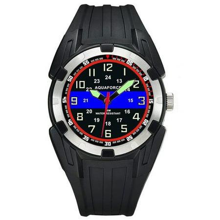 - Aquaforce 56TBL Super Luminous Hands Black PU Case & Strap Analog Watch - Stainless Steel Bezel