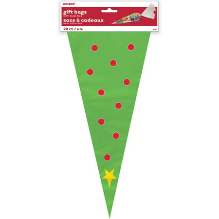 christmas tree cone cellophane bags 20 count