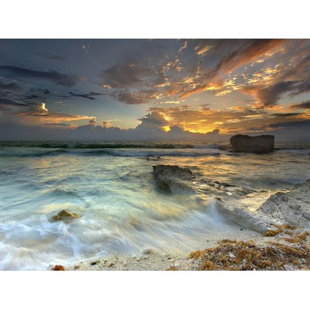 Coastline on Isla Mujeres, Mexico Showing Waves and Eroded Rocks under Cloudy Skies at Sunset Print Wall Art By Patrick (Showing Waves)