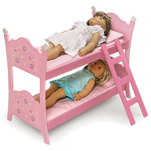 "Badger Basket Doll Bunk Bed with Ladder, Blossoms and Butterflies, Fits Most 18"" Dolls & My Life As"