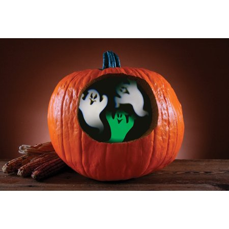 Pumpkin Carving Ghosts (Fun World Ghost Pumpkin Projector Pumpkin Carving Accessory, 3.5