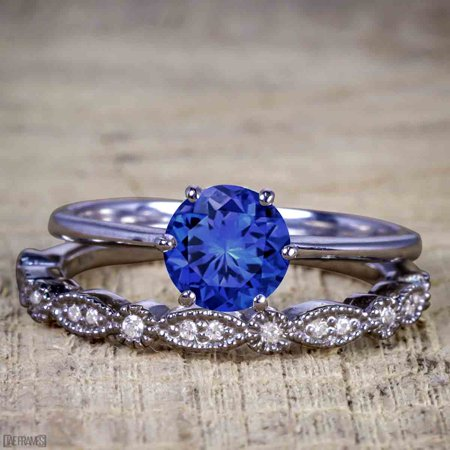 Artdeco 1.25 Carat Round cut Real Sapphire and Cubic Wedding Bridal Ring Set in Silver with Black Gold Plating