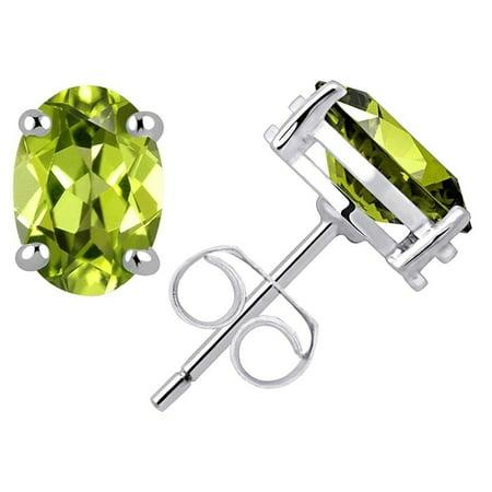 0.8 Carat Oval Cut Green Peridot 925 Sterling Silver Stud Earrings