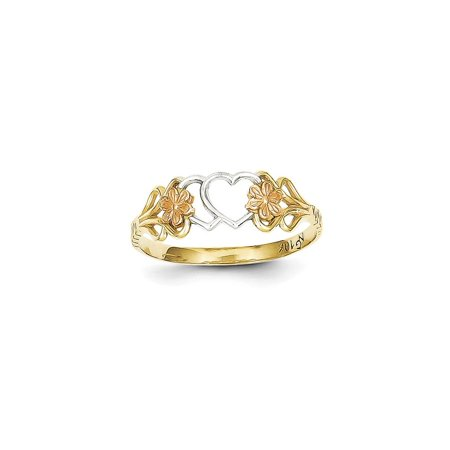 Solid 10k Gold Two-tone & Rhodium Double Heart Ring (2mm) - Size 4 10k Double Heart Ring