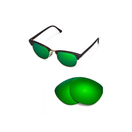 Walleva Emerald Polarized Replacement Lenses for Ray-Ban Clubmaster RB3016 51mm (Ray Ban Bottle Green)