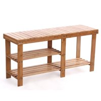 Ktaxon 100% Natural Bamboo Entryway Bench Hallway Shoe Storage Shelf Boot Rack Organizer