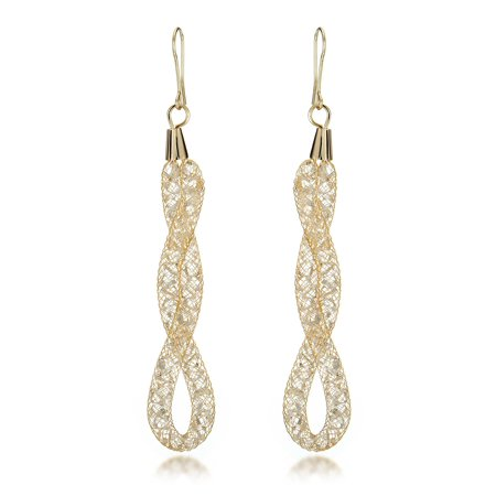 Gemini 14K Gold Plated Infinity Twisted Hook 80pcs Swarovski Zirconia Crystal Long Dangle Earrings Gm014 , Size: 4 inches , Color: Yellow Gold