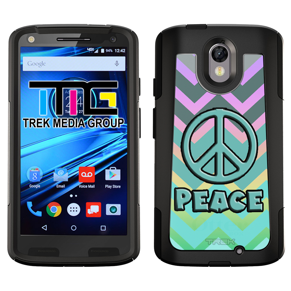 SKIN DECAL FOR OtterBox Commuter Motorola Droid Turbo 2 Case - Peace on Chevron Grey Green Turquoise on Rainbow DECAL, NOT A CASE