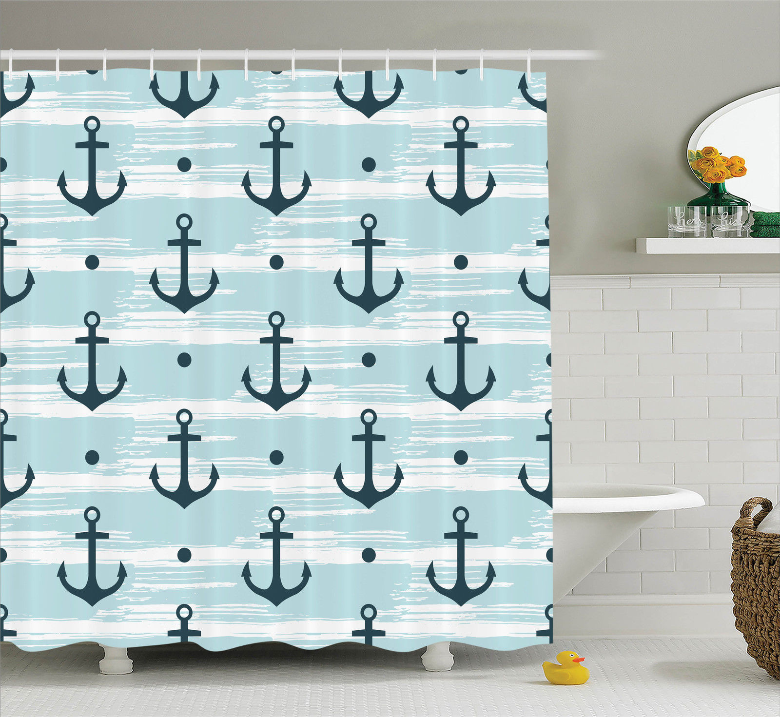 Anchor Decor Shower Curtain Set, Pattern With Anchors Modern Stylized  Adventurous Striped Trendy Coastline Fun