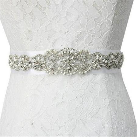 YZEO Lovely White/Ivory Pearls Wedding Dress Belt, Beaded Bridal Sash Organza Ribbon
