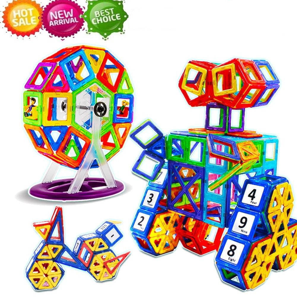 113 Pcs Set Kids Magnetic Blocks Toys Set Construction Building Tiles Blocks for Children... by