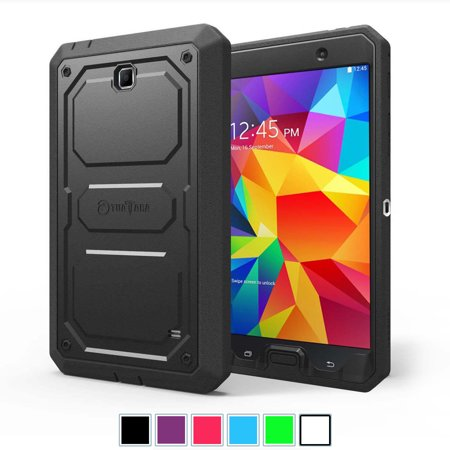 Samsung Galaxy Tab 4 7 0 Inch Case   Fintie Impact Resistant Bumper Cover With Built In Screen Protector  Black
