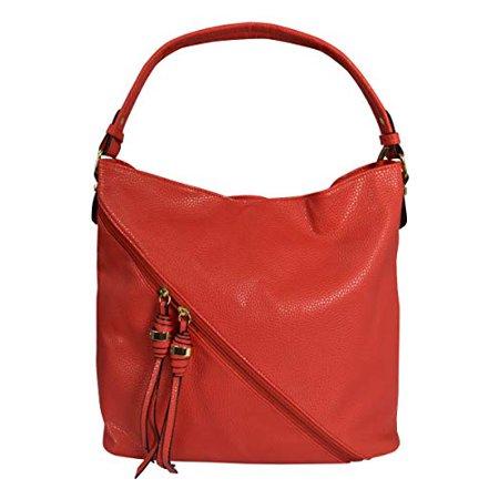Peach Couture Decorative Cross Bag Zipper Smooth Hobo Fashion Shoulder Bag for Women