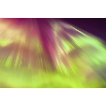 A Green And Purple Northern Lights Corona In The Sky Above The Tony Knowles Coastal Trail Winter Anchorage Southcentral Alaska Usa Canvas Art - Kevin Smith Design Pics (38 x 24)