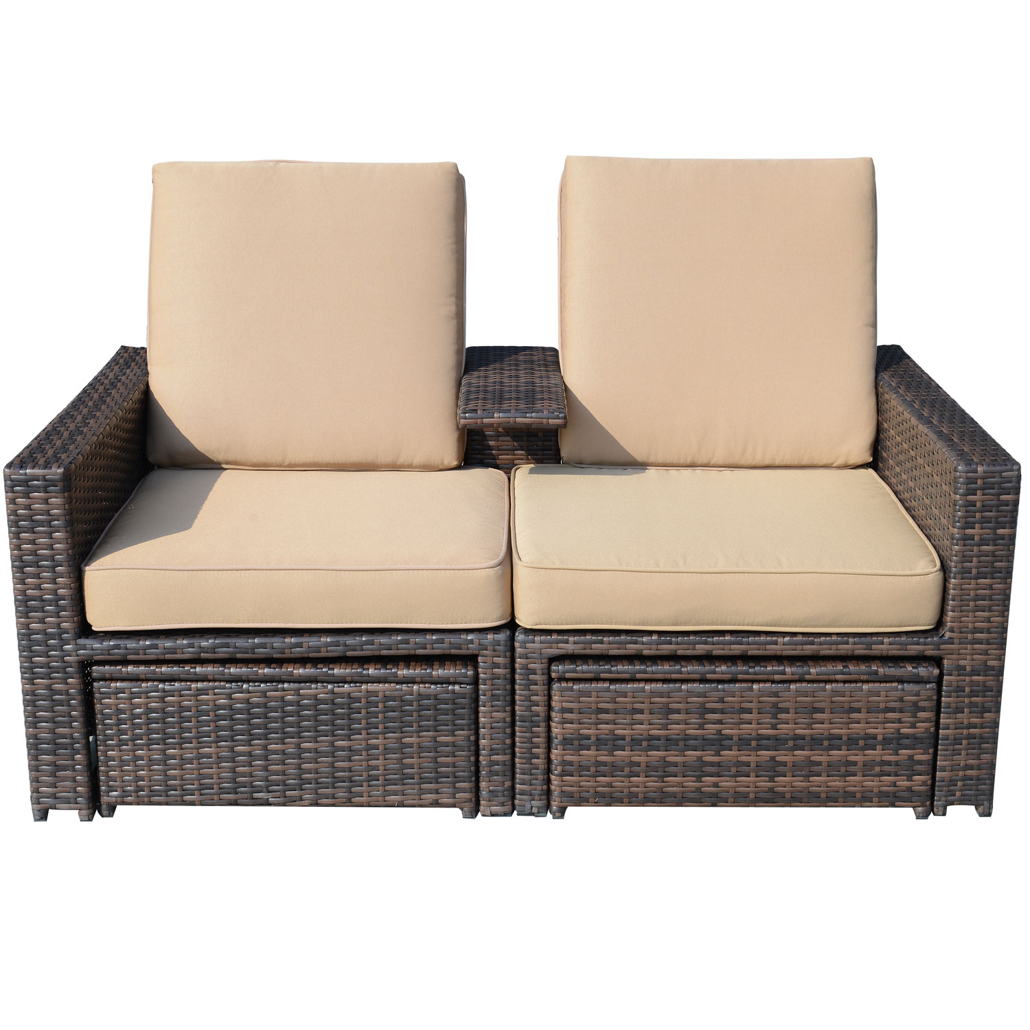 Aosom LLC Outsunny Outdoor 3 piece PE Rattan Wicker Lounge Chair