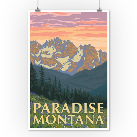 Paradise, Montana - Spring Flowers - Lantern Press Artwork (9x12 Art Print, Wall Decor Travel Poster)