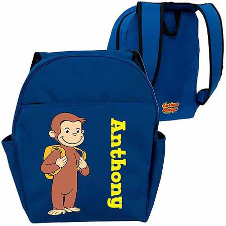 (Personalized Curious George Ready for School Blue Toddler Backpack)