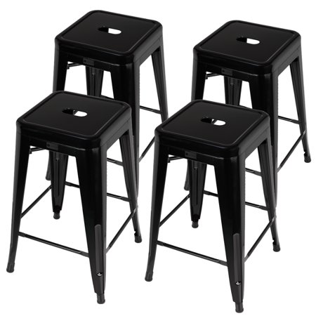 Homegear 4 Pack Stackable Metal Kitchen Stools / Chairs Black