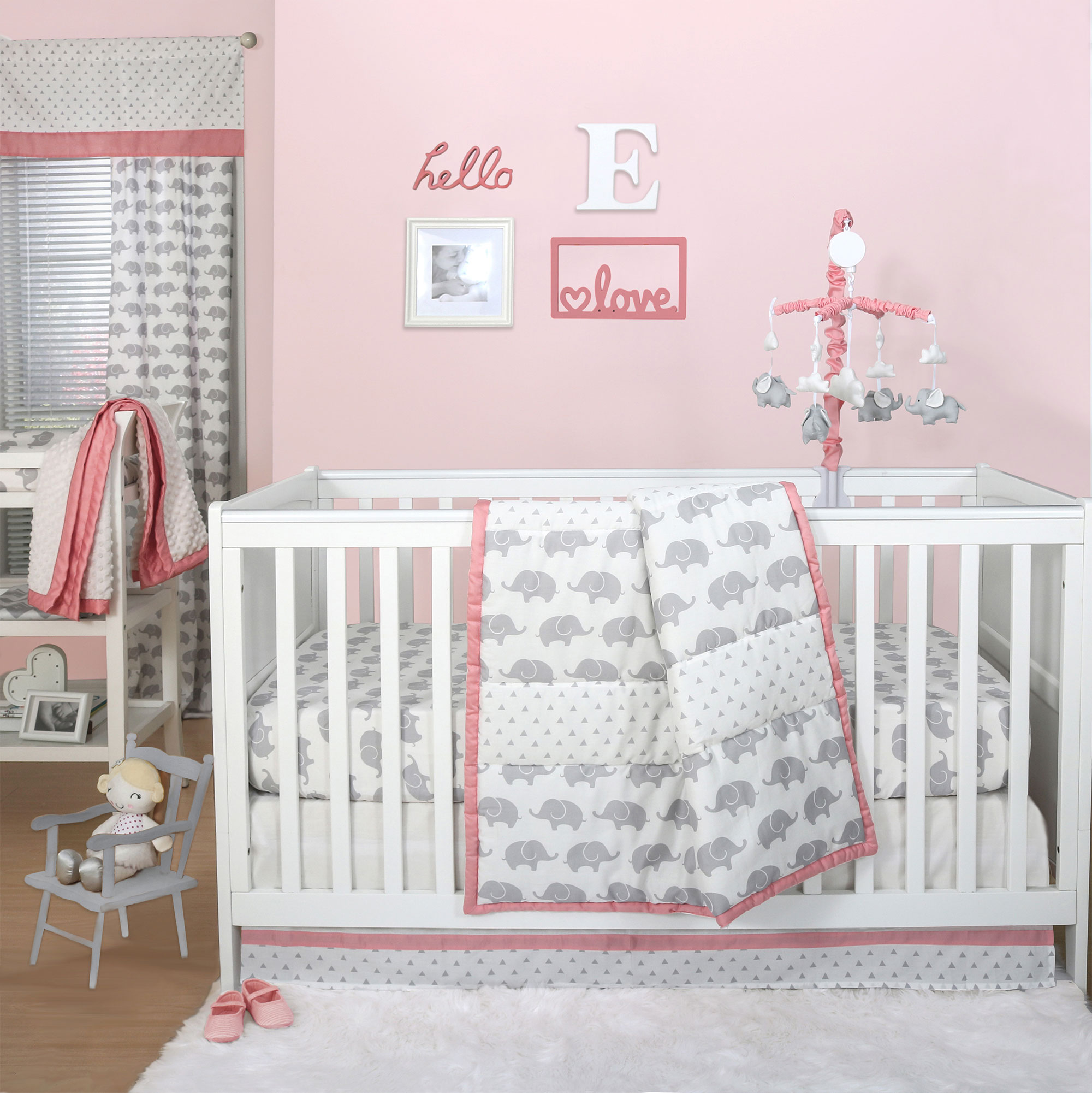 Peanut Shell 4 Piece Baby Girl Crib Bedding Set - Grey El...