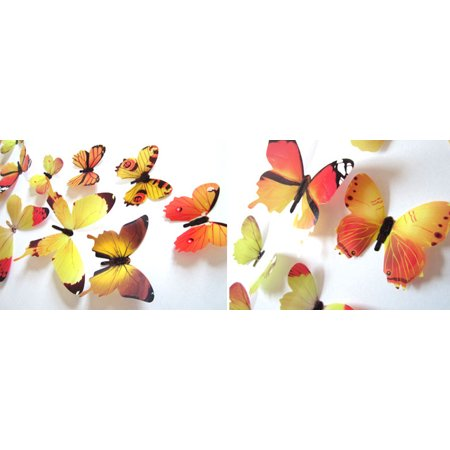 Pink Butterfly Stool - 12pcs Decal Wall Stickers Home Decorations 3D Butterfly Rainbow Yellow