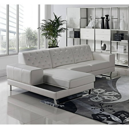 Stella Contemporary Bonded Leather 2 Piece Sectional Sofa Left Facing Chaise White