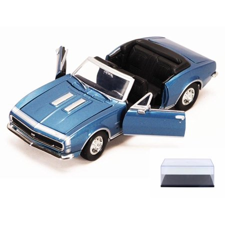 Diecast Car & Display Case Package - 1967 Chevy Camaro SS, Blue - Motormax 73301 - 1/24 scale Diecast Model Toy Car w/Display Case