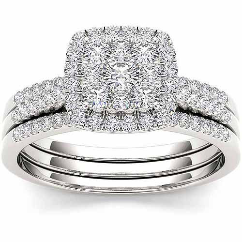 Imperial 1/2 Carat T.W. Diamond Cushion Cluster 10kt White Gold Bridal Ring Set