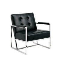 Furniture of America Kye Faux Leather Tufted Accent Chair in Black